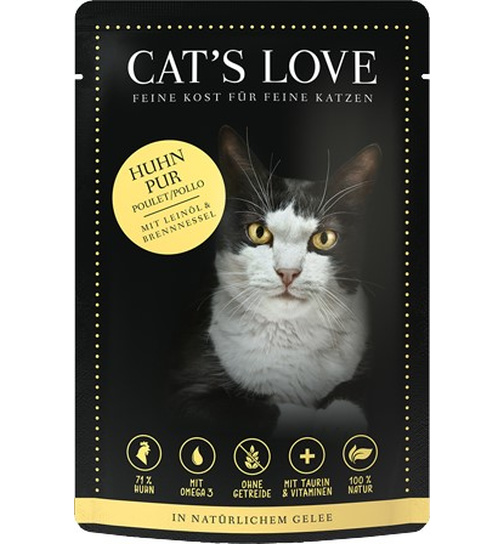 Cat´s Love Huhn pur 85g.-Beutel